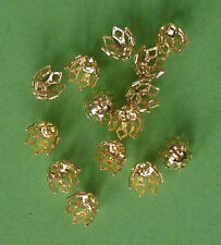 20 med (8mm) gold plated 7-prong 'filigree' bell caps, findings for jewellery