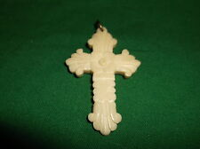 Vintage Hand Carved Ivory Colored Bone Cross Pendant