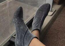 Zara Shiny Sock Boots Silver Heels Size UK 5 BNWT Rrp £49.99
