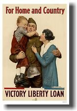 For Home & Country - Victory Liberty Loan- NEW 1918 WWI VINTAGE Art Print POSTER