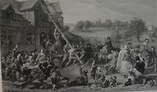 Raising The May Pole by F. Goodall. Engraved by E. Goodall. 1869. Original Print