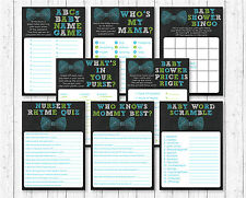 Bow Tie Chalkboard Baby Shower Games Pack - 8 Printable Games