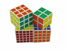 Set Of 4 Rubik Cube Collection Speedcube 2x2 3x3 4x4 5x5 White Base ShengShou