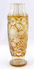Antique Bohemian Ovoid Engraved Art Glass Vase Rose Design Amber Gilt