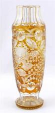 Antico Bohemien OVOIDE inciso ART GLASS Vaso Rose Design AMBRA dorati