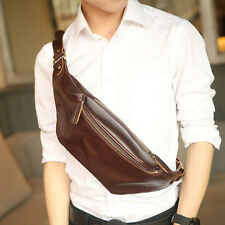 Men Crazy Horse Faux Leather Sling Chest Pack Cross Body Messenger Shoulder Bags