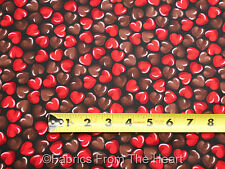 Oh Fudge Chocolate Red Hearts Valentine on Black BY YARDS Benartex Cotton Fabric