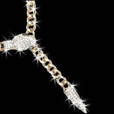 Micro Pave Set Crystal Cz SNAKE Statement Drop Chain Link Curb Necklace Gold gp