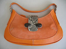 Tod's Orange & Snakeskin Leather & Suede Bag Handbag Purse