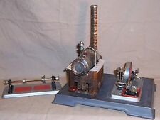 Vintage Wilesco Toy Stationary Live Steam Engine Metal w Line Set Germany