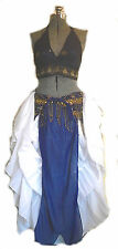 Belly Dance Costume Tribal Bra & Coin Belt Blue Gold Bells OS