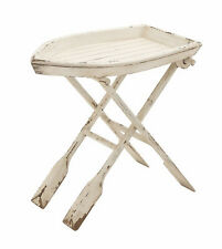 White Rowboat Oars Wood Accent Side End Table Tray Stand Nautical Decor