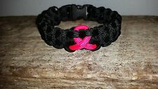 Breast Cancer Awareness paracord survival bracelet pink ribbon
