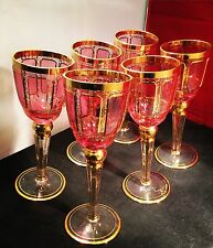Set Of 6 Vintage Murano Art Glass Wine Glasses, 24ct Gold, Ruby Red, Cranberry