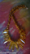 HIPPY BOHO NECKLACE GEMSTONE BEAD QUARTZ POINT AMBER TRIBAL STYLE 11D2