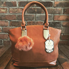 Womens Brown Tan Pom Pom Moda Tote Handbag Faux Leather & Free River Island Gift
