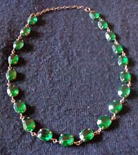 Antique Emerald Green Stone Rhinestone Necklace 1920s Art Deco 20 Stones 17 1/2""