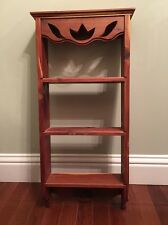 Vintage Solid Cedar Wood Wall Shelf with TULIP Cutouts ~ 3 Shelves ~ Primitive