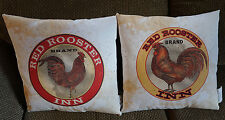 PAIR of 2 RED ROOSTER INN FEED GRAIN SACK PILLOWS Country Kitchen Home Decor NEW