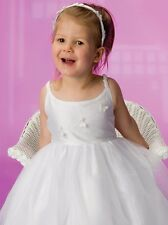 GIRLS IVORY BEADED BUTTERFLY FLOWERGIRL DRESS, SIZE 3, BRAND NEW,PETTICOAT,LINED