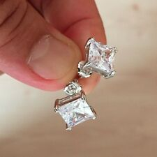 Mens Ladies 3.25 CTW Simulated Lab Diamond Screw Back Square Stud Earring 10mm