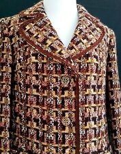 Womens Wool Tweed Plaid Blazer Lang Modell Pockets Gold Buttons Medium Vintage