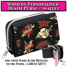 PERSONALISED SKULLS & HEARTS LADY WOMENS DENIM PURSE WALLET LADIES GIFT 232