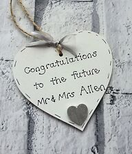 personalised engagement gift/present handmade wooden heart
