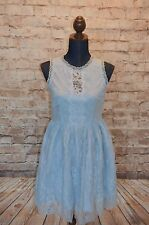 Modcloth Urban and Auroral Dress NWT Sz S Esley Lace Light blue A-line Cute!