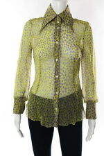 Dolce & Gabbana Yellow Purple Silk Animal Print Button Up Blouse Italian Size 40