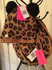 NWT BETSEY JOHNSON INFINITY SCARF ANIMAL PRINT BROWN & BLACK WITH KITTY HAT