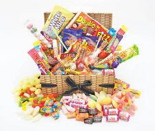DELUXE WICKER Effect RETRO SWEET HAMPER Large mix Birthday Thank You Christmas