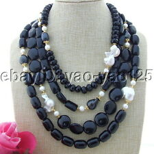 """S112907 19''-26"""" 4 Strands White Keshi Pearl Onyx Necklace"""
