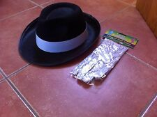 MICHAEL JACKSON TRILBY HAT WITH GLOVE THRILLER MOONWALK FANCY DRESS - AL CAPONE