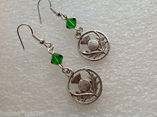 Outlander Inspired Antique Silver Thistle Earrings, Scottish Thistle dangling