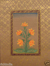 Mughal Paper Miniature Painting Handmade Floral Flower Moghul Art_AR258