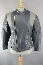 CLASSIC VINTAGE 1970's DARK & LIGHT GREY COWHIDE LEATHER BIKER JACKET 38 INCH