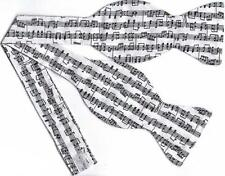(1) BOW TIE - SHEET MUSIC ON WHITE - Black Musical Notes on White