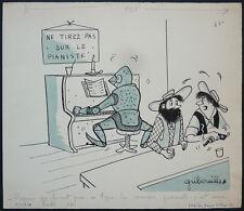 Dessin original de GRIBOUILLE vers 1956  humour western pianiste