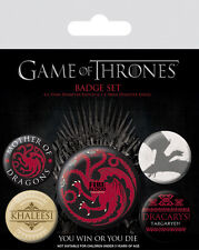 GAME OF THRONES FIRE AND BLOOD TARGARYEN 5 PACK OF BADGES NEW OFFICIAL PYRAMID