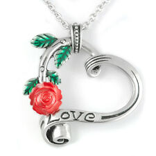 Controse Jewelry Garden Heart Elite Red Rose Heart Love Necklace Pendant Chain