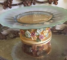 Vintage Cake Stand Ornate French Inspired Charming! One Of A Kind!