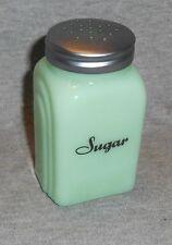 JADEITE GREEN GLASS SUGAR SHAKER ARCHED SIDES BLACK SCRIPT LETTERING RANGE TABLE
