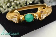 Vintage Rhinestone & Faux Seed Pearl Two Kissing Fish Hinged Bangle Bracelet