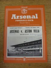 02/01/1954 Arsenal v Aston Villa  (Neat Match Details Noted On Cover/Inside, Rus