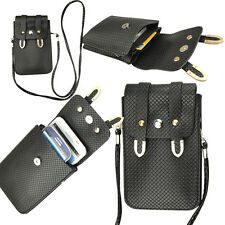 Black Mini Wallet with Shoulder Strap Girls Bag for iphone Samsung HTC Motorola