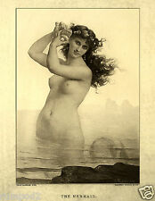 Antique Mermaid Print/Mermaids Illustration/Swimming Mermaid Poster/1879