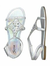 JUSTICE SZ 12 SILVER METALLIC JEWELED SANDALS SHOES NWT RV $42.90