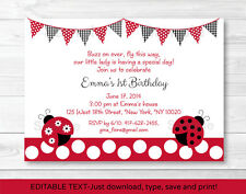 Little Red Ladybug Garden Printable Birthday Invitation Editable PDF