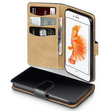Premium PU Leather Wallet Case for New Apple iPhone 7 - Black/Tan